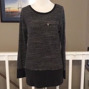 LOFT Charcoal Gray French Terry tunic Size M